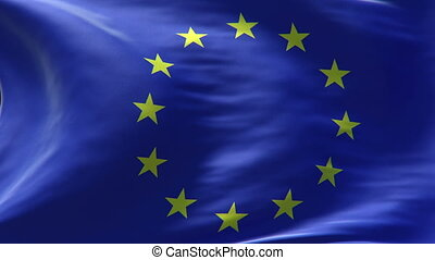 europe flag waving loop