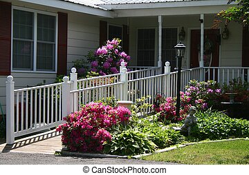 Handicap Ramp Close up view - handicap ramp (white picket)...