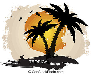 tropical background - Grunge summer tropical background,...