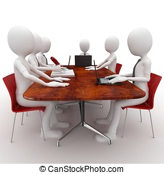 3d man team meeting in conference room