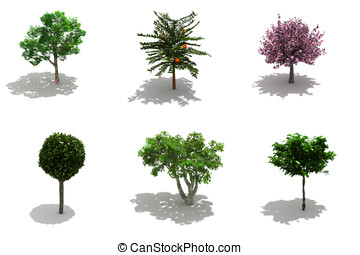 3d trees pack with shadows - 3d trees pack isolated on white...