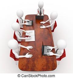 3D, hombre, equipo, reunión