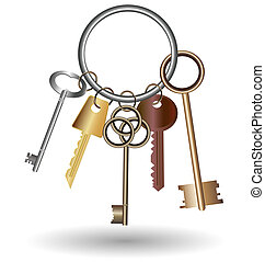 bunch of keys - against the white background is bunch of...