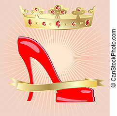 crown and shoe - on an abstract background of a big red...