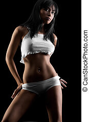 Lingerie model - Sexy lingerie model on black studio...