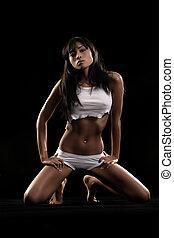 Lingerie model - Sexy lingerie model on black studio...