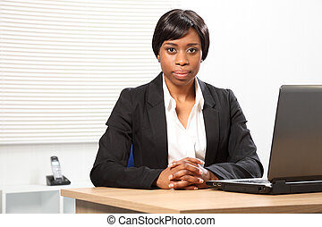 Beautiful serious african american business woman -...