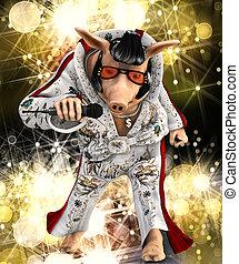 singer toon pig - 3d render