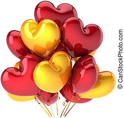 Partido, balões, corações, vermelho, amarela