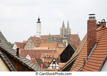 Roofs of Rothenburg - View over the mediaval town Rothenburg...