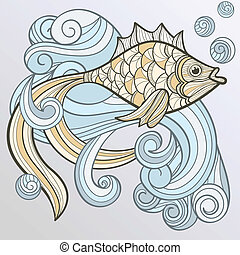 vector abstract fish on splash of water - vector abstract...