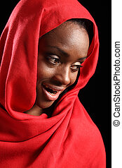 Beautiful happy African American muslim girl hijab -...