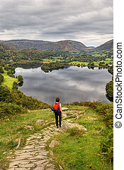 Grasmere in early Autumn - A female hiker descending...