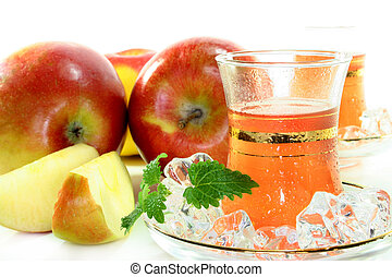 Apple ice tea - two glasses of apple ice tea with fresh...