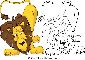 surprised by a lion - Surprised lion. Color and outline...