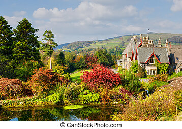 English Country Estate in Autumn - A large English coutry...