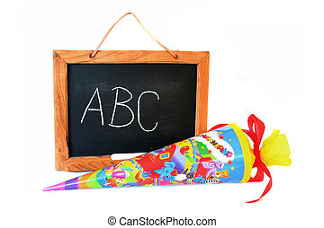 enrollment - a school cone with blackboard on white...