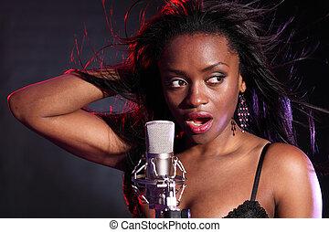 hermoso, negro, niña, Marcas, Música, canto,...