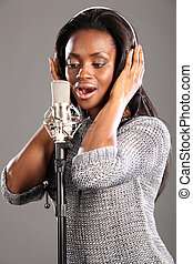 Sing song african american girl recording studio - Beautiful...