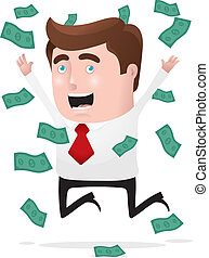 I Am Rich! - Businessman jumping in joy with a lot of money...