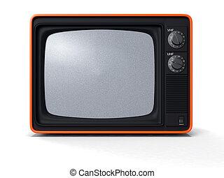 retro TV noise screen - High resolution 3d render of an...
