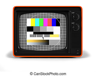 retro TV orange shell - Very high resolution 3D render of an...