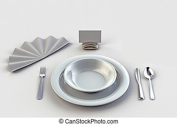 place setting - Very high resolution 3d render of an diner...