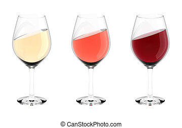 wine glasses white red rose - High resolution 3d render of 3...