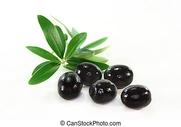 Olives and olive branch on a white background