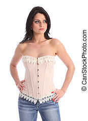 Beautiful young fashion model wearing corset - Beautiful...