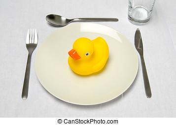 橡膠, 鴨子, 盤子, 确定