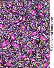 Ornamental flowers - Freehand drawing . Art is created by...
