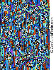 Colorful abstract pattern - Freehand. Art is created by...