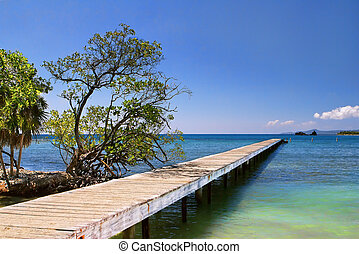 Beach Bridge in Honduras - Photograph of a bridge by the...