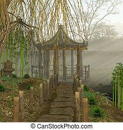asian garden - 3d render