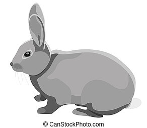 Rabbit - Stylized drawing of a grey rabbit
