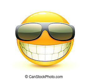 Emoticon - illustration of cool glossy Single Emoticon