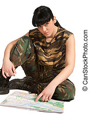 army girl with map
