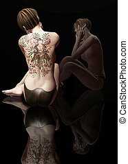 back tattoo - 3d render
