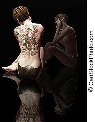 back tattoo - 3d render