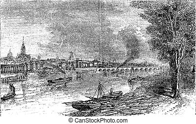 Bordeaux port city, Garonne River, France, vintage engraving...