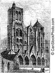 Bourges Cathedral, in Bourges, France vintage engraving. Old...