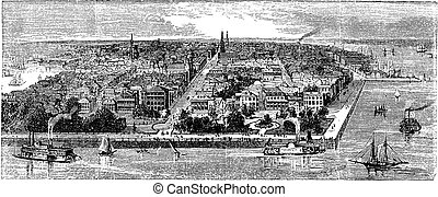 Charleston vintage engraving - Charleston, in South...