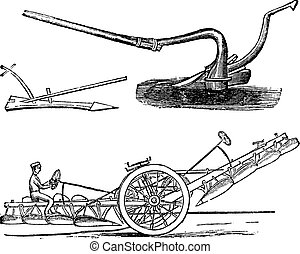 Plough vintage engraving - Plough, vintage engraving Old...