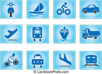 Transportation Icons in blue background