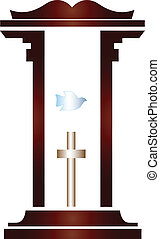 Bible - Pulpit from the pastor with the bible cross and dove