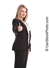 Thumbs up positive sign by business woman in suit -...