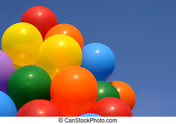 multicolored balloons - multicolored balloons in city...