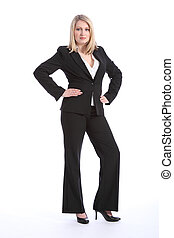 Beautiful young blonde business woman in suit - Full body...
