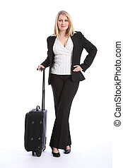 First class business travel beautiful young woman